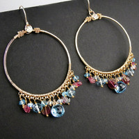 Gold Hoop Earrings Wire Wrapped Blue Topaz Watermelon Tourmaline Gemstones Hammered 14kt Gold Fill - Sara