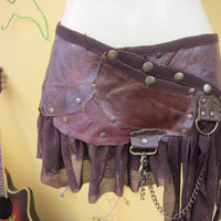 "BURNING MAN  leather belt/tutu/skirt with ruffles of tan net,studs and chain...38"" to 44"" hip or waist.."