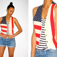 Etsy Transaction -        RESERVED sparklingkatia Vtg American Flag Gold Heart Buttons Linen Open Vest