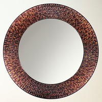 Illuminada - Amber Beaded Circle Mirror (8696) - Decorative - Mirrors
