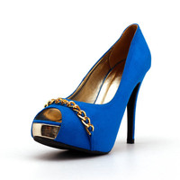 Royal Blue Shoes with Gold Chain.