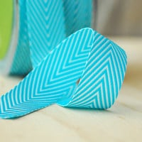 5 Yards Aqua Blue Chevron Twill Tape Ribbon