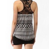 Tribal Print Lace Yoke Tank
