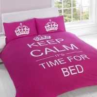 FULL CERISE PINK TEENAGER KEEP CALM ITS TIME FOR BED COTTON REVERSIBLE COMFORTER COVER: Home & Kitchen