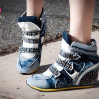 Fabiola-01 Denim High Top Studded Sneaker Wedge (Blue) - Shoes 4 U Las Vegas