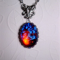 Dragon&#x27;s Breath Mexican Opal Pendant Necklace