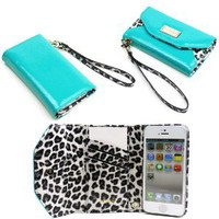 JAVOedge Leopard Wallet Case for the Apple iPhone 5 (Turquoise): Everything Else
