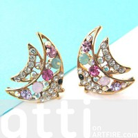 Rhinestone Tropical Fish Sea Animal Stud Earrings in Gold