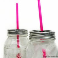 "1 DIY Mason Jar To-Go Tumbler Lid with Reusable Straw - Pink - 9"" Straw -  - Eco Friendly Gift - Iced Coffee To Go"