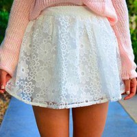 White A-Line Skirt with Floral Embroider Mesh Overlay