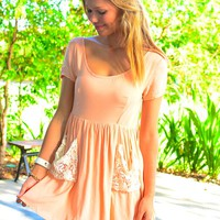 Peach Short Sleeve Mini Dress with Crochet Pockets