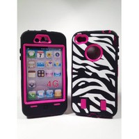 Armored Core Zebra Print Case White/Black with Hot Pink Shell for Iphone 4/4S: Cell Phones & Accessories