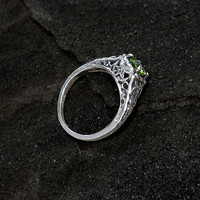 Sterling Peridot Ring Sterling Silver and Genuine by GothicGlitter