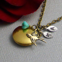 Personalized Locket Bird Swallow Sparrow by ManoCelebrates on Etsy