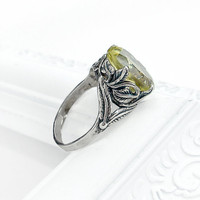 Elven Leaf Ring Citrine and Sterling Silver by GothicGlitter