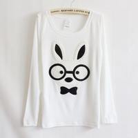 White Solid Bead Eyes Rabbit Cartoon Long-sleeved T-shirt