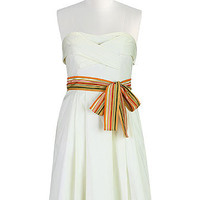 Striped sash tie strapless dress