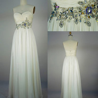 2013 Style A-line Beading Sweetheart Floor-length Chiffon Prom Dress / Evening Dress