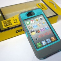 NEW GREY TEAL  NEW OTTER BOX DEFENDER CASE COVER SKIN FOR I PHONE 4 4G 4S