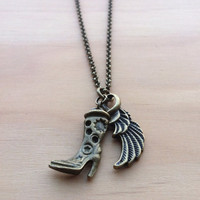 Cowboys and Angels Necklace - country boot & wing - Texas