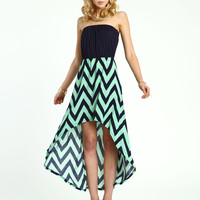 Chevron Hi Low Dress