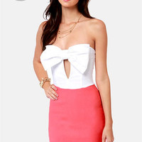 LULUS Exclusive Bow Down Strapless Coral Dress