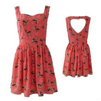 Retro Hollow out Heart deer around Dress