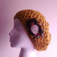 Slouchy Hat...Brown Owl on Mustard