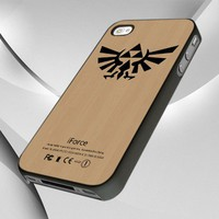 0915 Wood Zelda Triforce Logo design for iPhone 4 or 4S Case / Cover