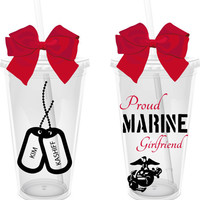 Proud Marine Girlfriend/Wife 16 oz. Personalized Acrylic Tumbler