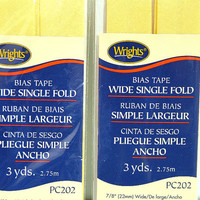 2 Packages New Bias Tape, Wrights Brand, Wide Single Fold, 3 Yards Each, Lemon Ice, DIY, Sewing
