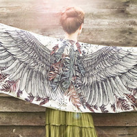 Women scarf, Earthy Wings and feathers in Modal/rayon, stunning unique and useful, perfect gift