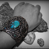 Cuff Bracelet fashion jewellery polymer clay ceramic pearl tirquoise copper chain fantasy tribal gothic - MADE TO ORDER