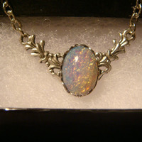 Victorian Style Ornate Fire Opal Necklace in Antique Silver (999)