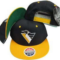 Pittsburgh Penguins Black/Yellow Two Tone Plastic Snapback Adjustable Plastic Snap Back Hat / Cap