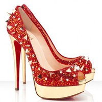 Christian Louboutin Very Mix 150mm Strass Red Pumps