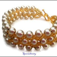 Handmade Almond Glass Pearl Gold Seed Bead Woven Bracelet