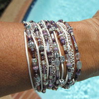 Boho Endless Leather Wrap Bracelet - Lavender