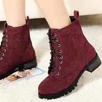 Last Chance: Suede Lace-up Boots in Burgundy from Modelstyle