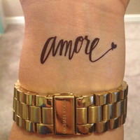 Temporary Handwritten Amore Tattoo