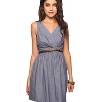 Surplice Chambray Dress w/Belt | FOREVER21 - 2011409012