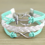 Anchor bracelet, infinity bracelet, mint green bracelet, mint green,friendship gift 13-22