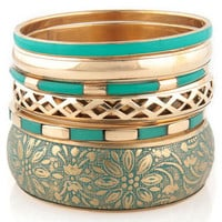 Teal Bangle Set - Gold Bangle Set - $14.00