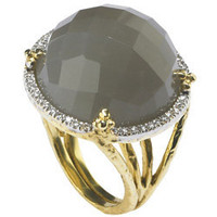 Max & Chloe - Jolie B. Ray Rare Faceted Grey Moonstone Cocktail Ring with Diamonds - Max and Chloe