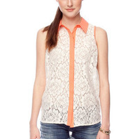 All Laced Up Sleeveless Shirt in Coral :: tobi