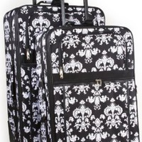 Amazon.com: Black Trim Damask Floral Two Piece Luggage Set: Clothing