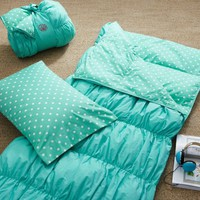 Ruched Sleeping Bag + Pillowcase- Pool Dottie
