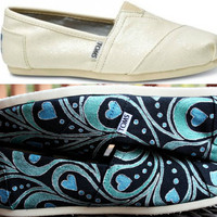 Womens - Cream Glitter - Blue Green Abstract Peacock Feather Custom TOMS