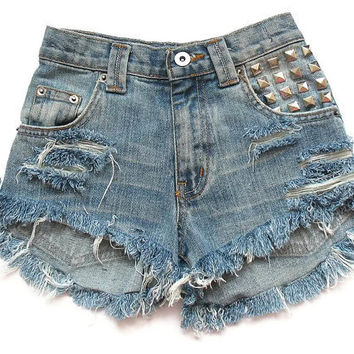 High waisted denim cut offs 22 waist by deathdiscolovesyou on Etsy