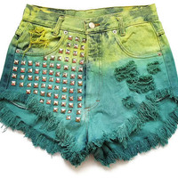 Studded high waisted shorts M by deathdiscolovesyou on Etsy